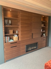 Walnut veneer wall unit