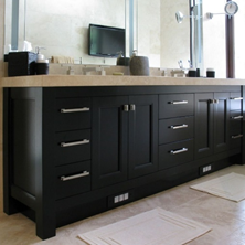 A custom black and marble bathroom vanity made by joinery specialists - Wood Solutions.