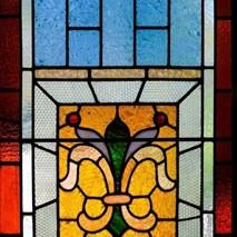 A close-up on a leadlight window.